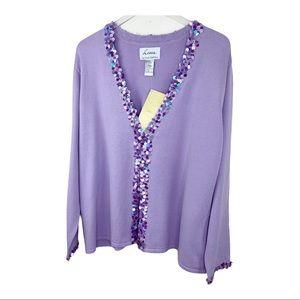 Linea by Louis Dell'Olio Purple Sequin Cardigan 2X